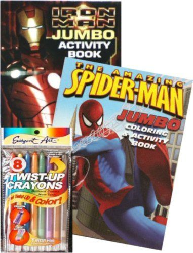 Spiderman And Iron Man Jumbo Coloring Book Set With Twist Up Crayons By Marvel Comics 19 99 Sure To Delight Coloring Book Set Book Activities Coloring Books