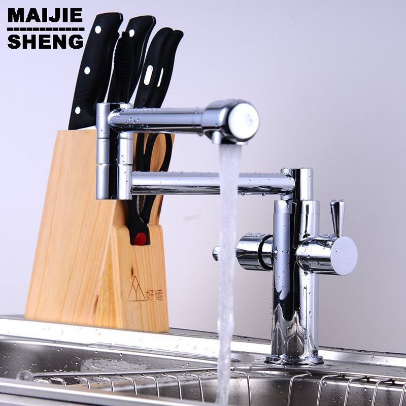 Whole Brass Folding Copper Sink Chrome Wall Kitchen Faucet Water Tap Torneira