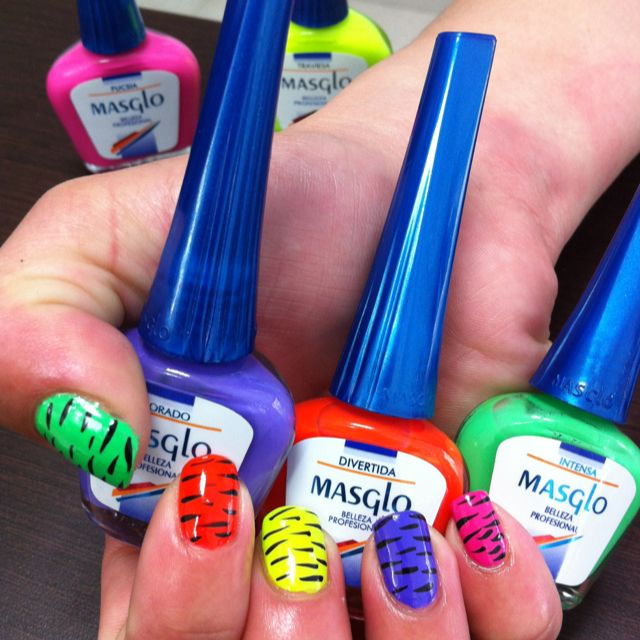 Colores Neón con Masglo | Nails | Pinterest