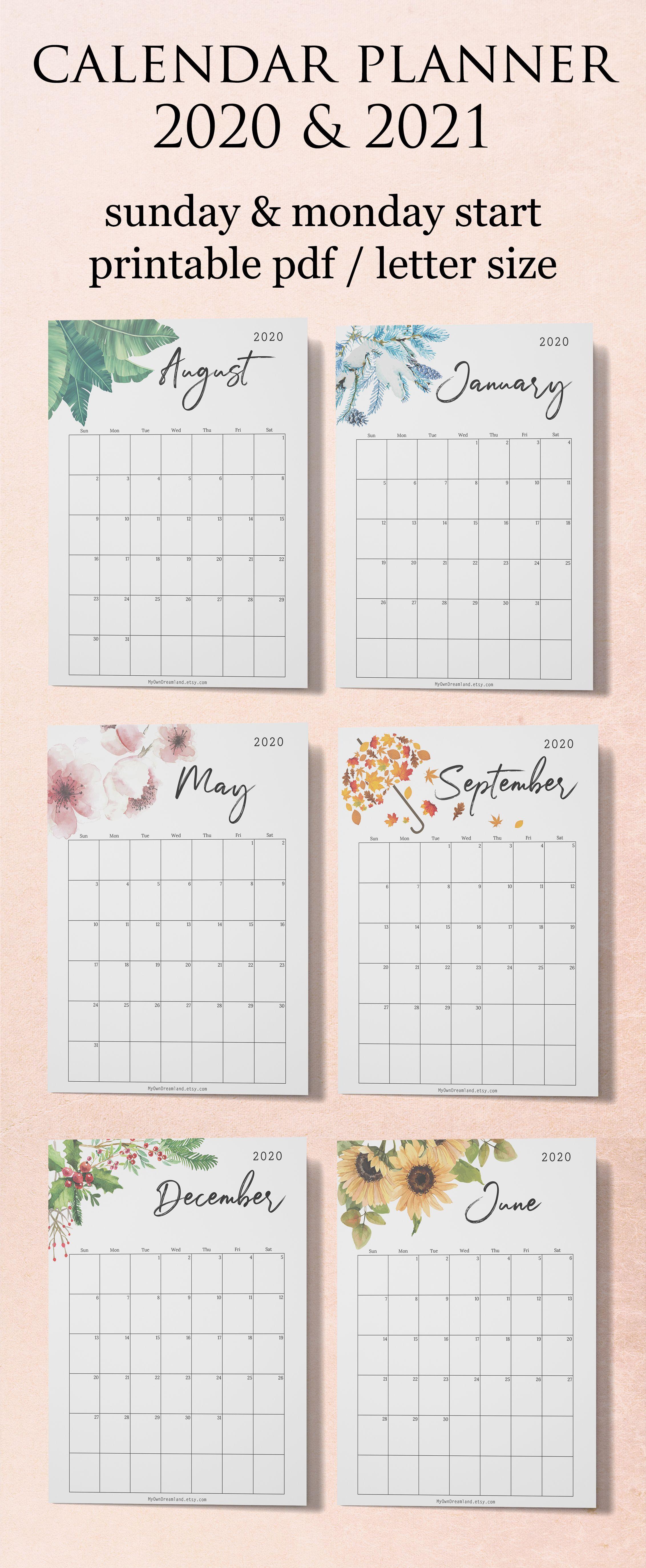 Calendar 2020 Printable Calendar Planner 2020 Monthly Etsy In 2020 Planner Calendar Printables Planner Calendar Planner