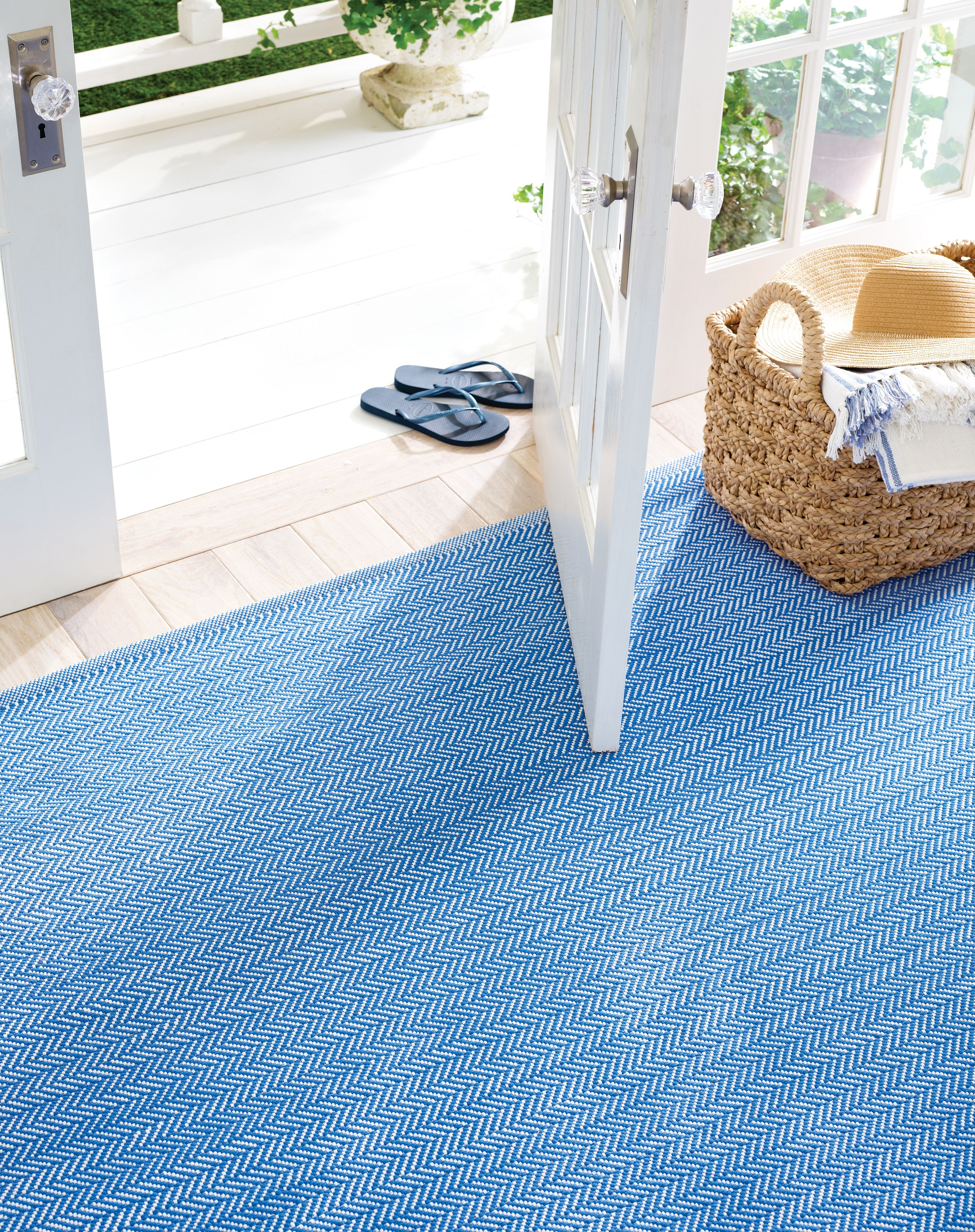 Herringbone French Blue White Indoor Outdoor Rug Dash Albert