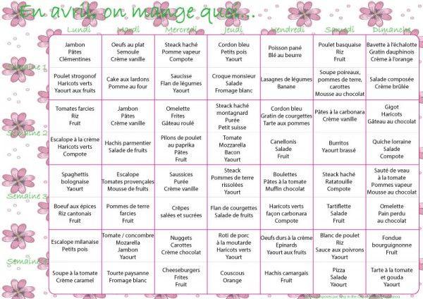 En avril, on mange quoi ? – menus mensuels (pour vos agendas aussi) #9