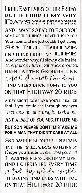 Highway 20 Ride Zac Brown Lyrics Son Wood Sign Dorm Christmas ...