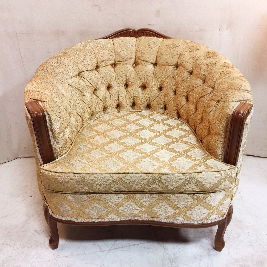 French Provincial Tufted Tub Chair With Original Pale Golden Upholstery 175 Kid Friendly Living Room Upholstery Retro Furniture