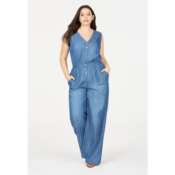 c756477bb4e Justfab Jumpsuit   Rompers Chambray Wide Leg Jumpsuit ( 45) ❤ liked on  Polyvore featuring plus size women s fashion