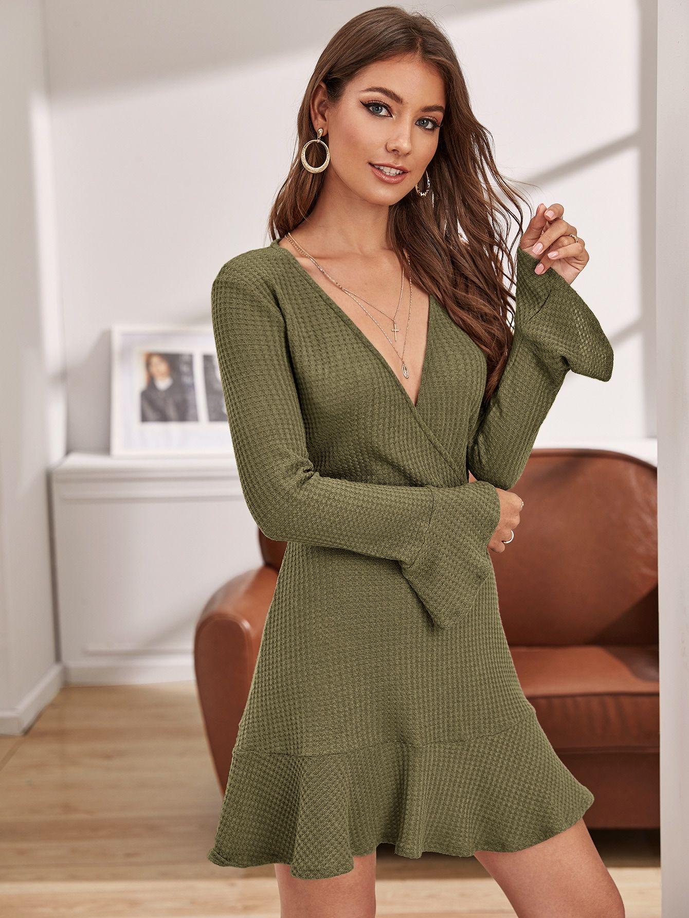 Ad Ruffle Hem Flounce Sleeve Waffle Knit Sweater Dress Tags Elegant Army Green Plain Deep V Neck Mini Ruffle Ruffle Hem Flounce Sleeve Dresses Flounce [ 1785 x 1340 Pixel ]