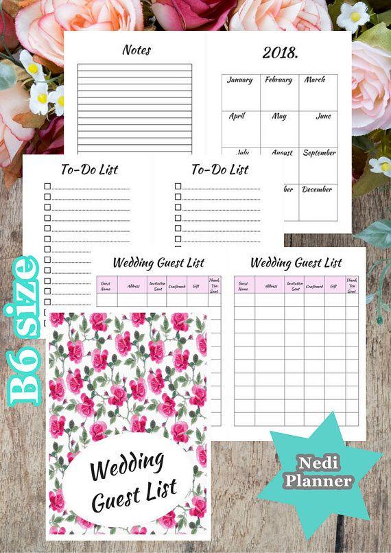 B Size Wedding Guest List Wedding Planner Printable  Nediplanner