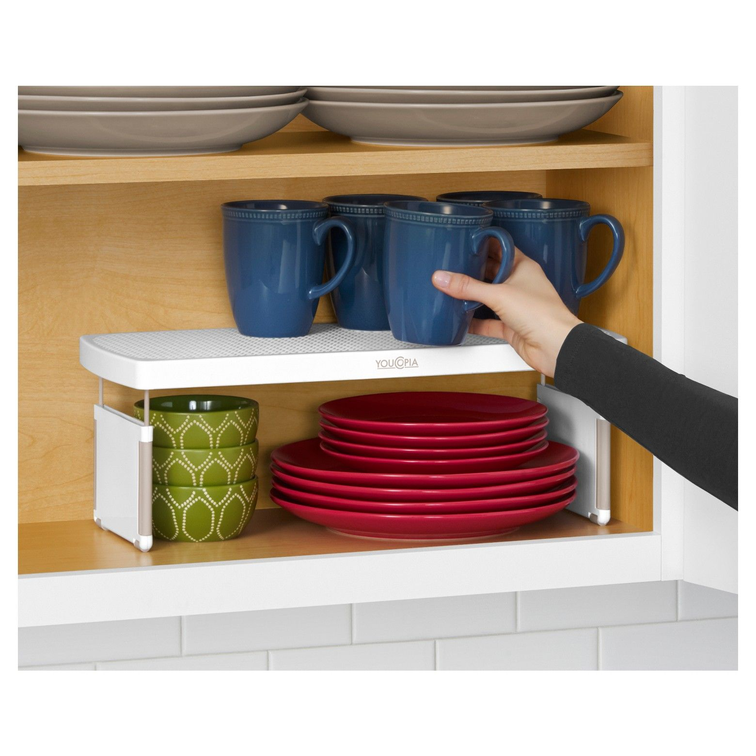 The First Height Adjustable Shelf Riser Is Here A Clever Patent Pending Design Kitchen Cabinet Organization Types Of Kitchen Cabinets Kitchen Cabinet Remodel