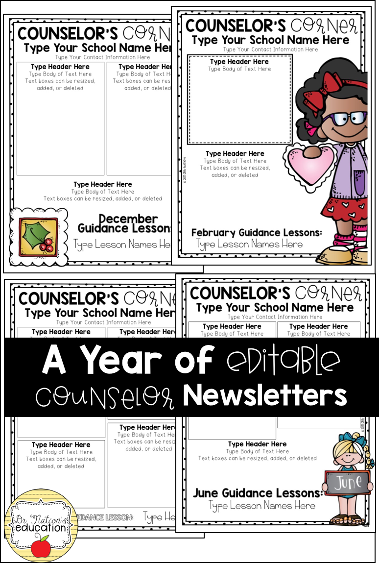 Editable Monthly Newsletter Templates For The School Counselor