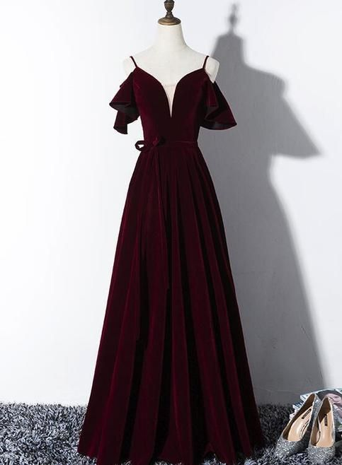 Wine red party dress spaghetti straps evening dress v neck prom dress #promthings