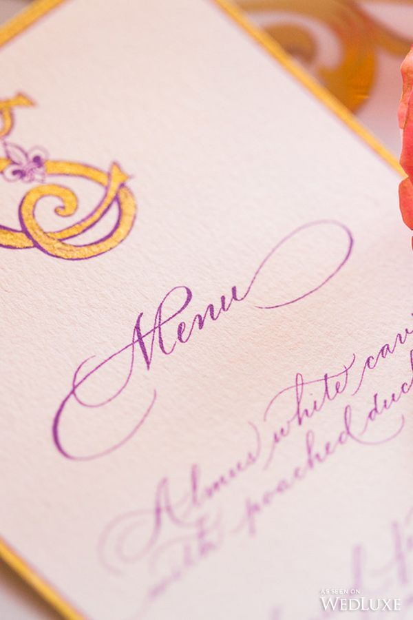 Gold and purple calligraphy monogram menu by Joy Fairclough for Studio French Blue, for the Shangri-La Hotel, Paris