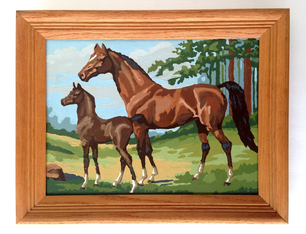 Vintage Paint By Number Picture w/ Wood Frame Horse Country Scene Horses #Unbranded
