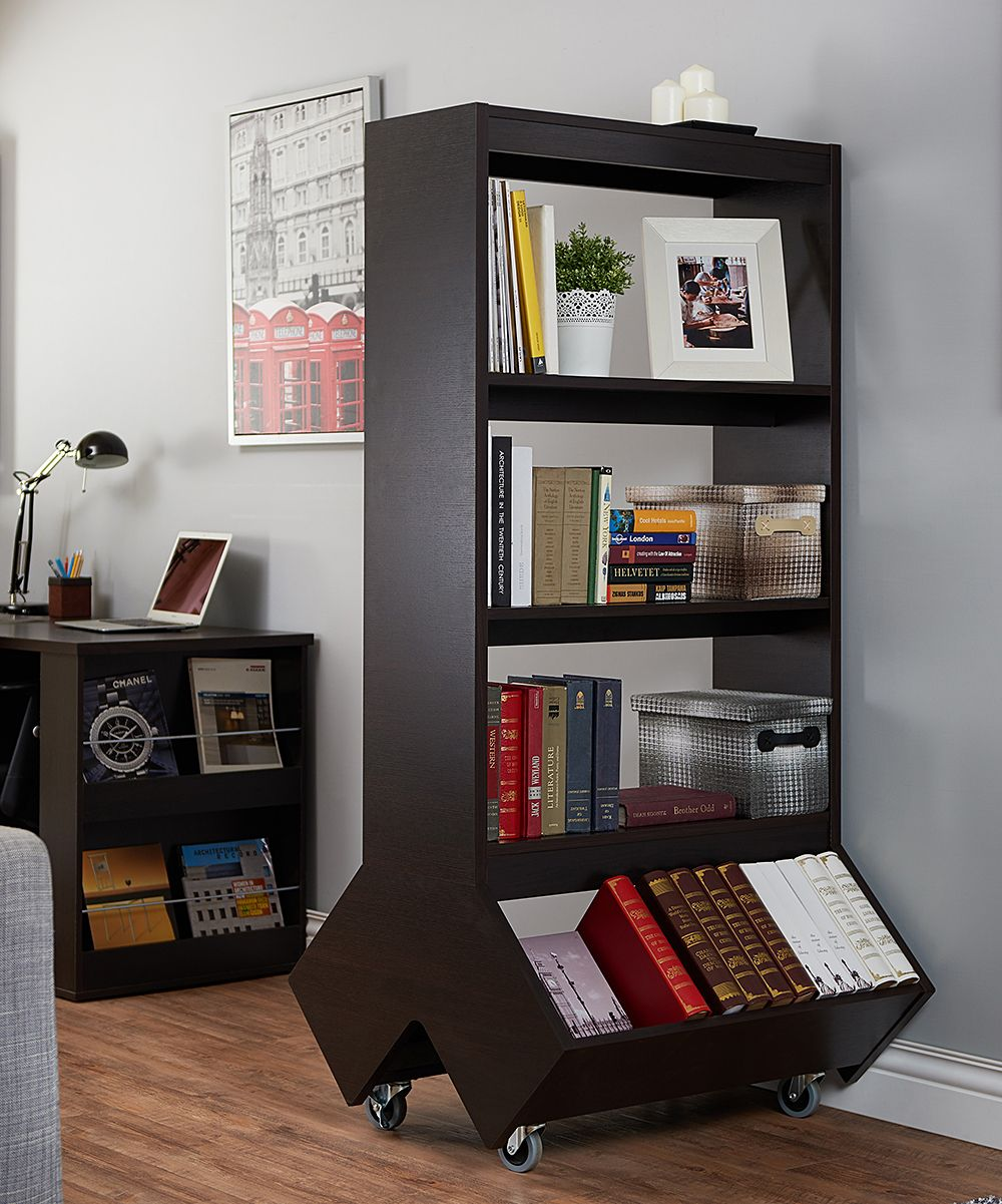 Wood Wheeled Bookcase