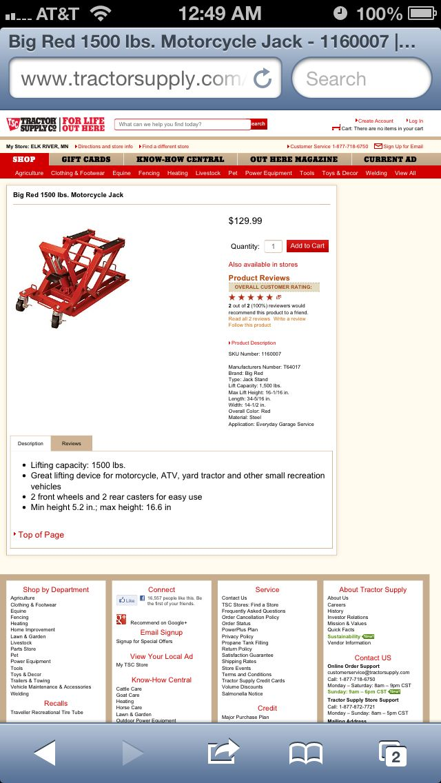 Motorcycle lift Agriculture clothing, Tractor supplies