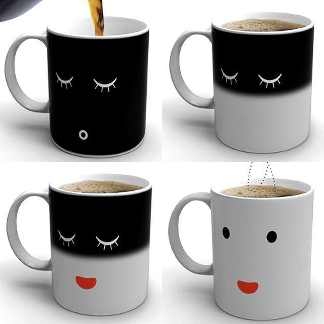 Morning Mug  when cold = mug shows a sleeping face  when hot = mug wakes up!