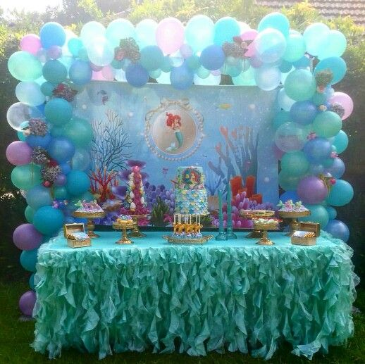 Beautiful little mermaid candy buffet candy dessert for Ariel birthday decoration ideas