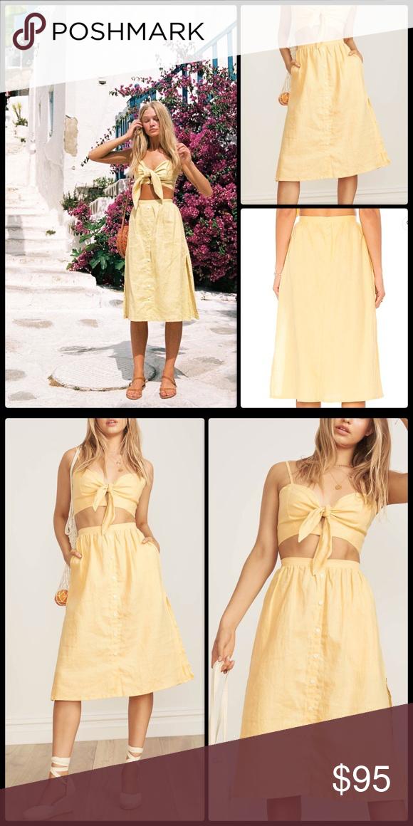 c3601e13ea FAITHFULL THE BRAND☀ Seine Skirt Pale Yellow NWOT Faithfull the Brand Seine  Skirt is