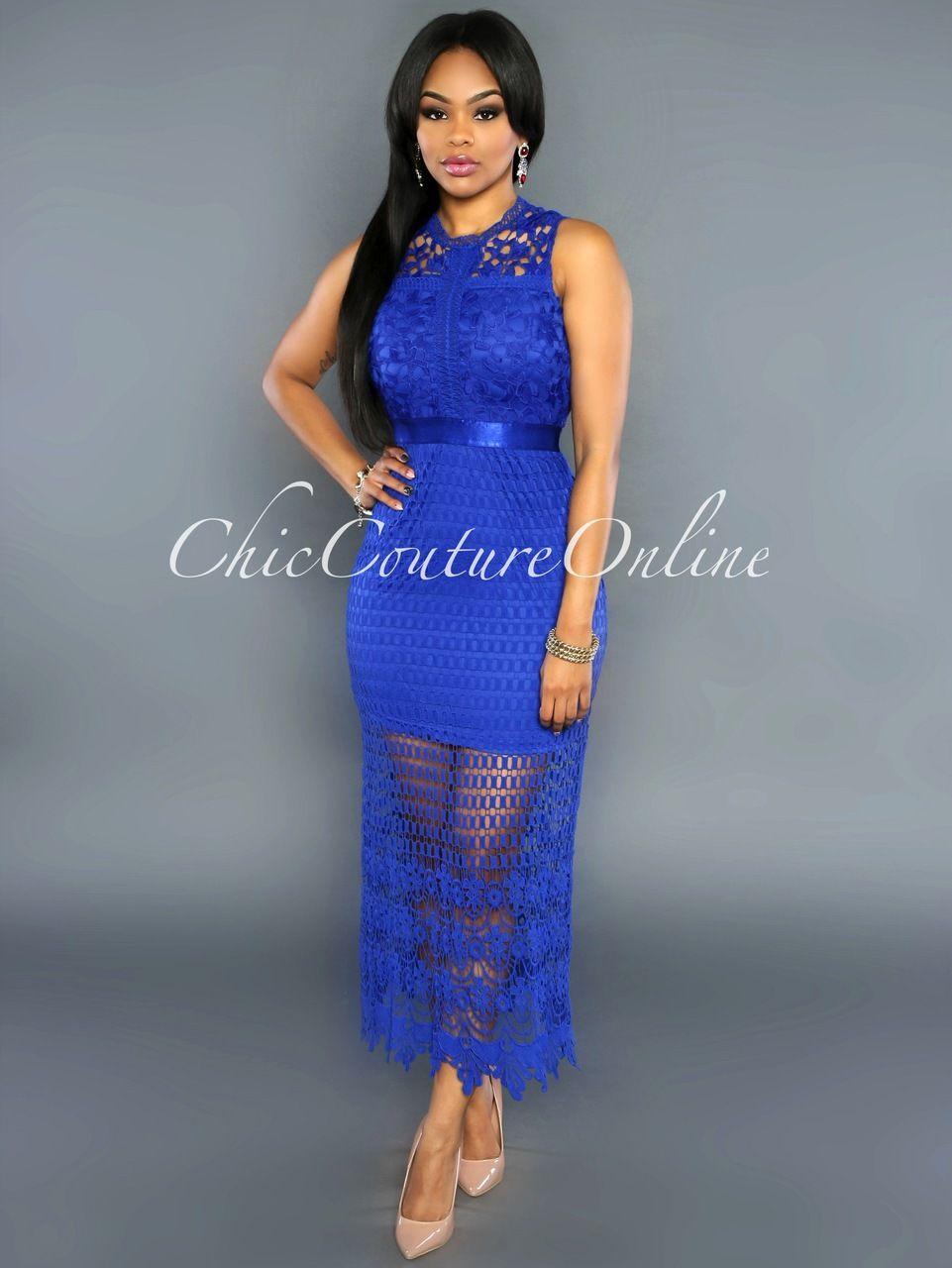 Chic Couture Online - Natala Royal-Blue Crochet Lace Midi Dress ...