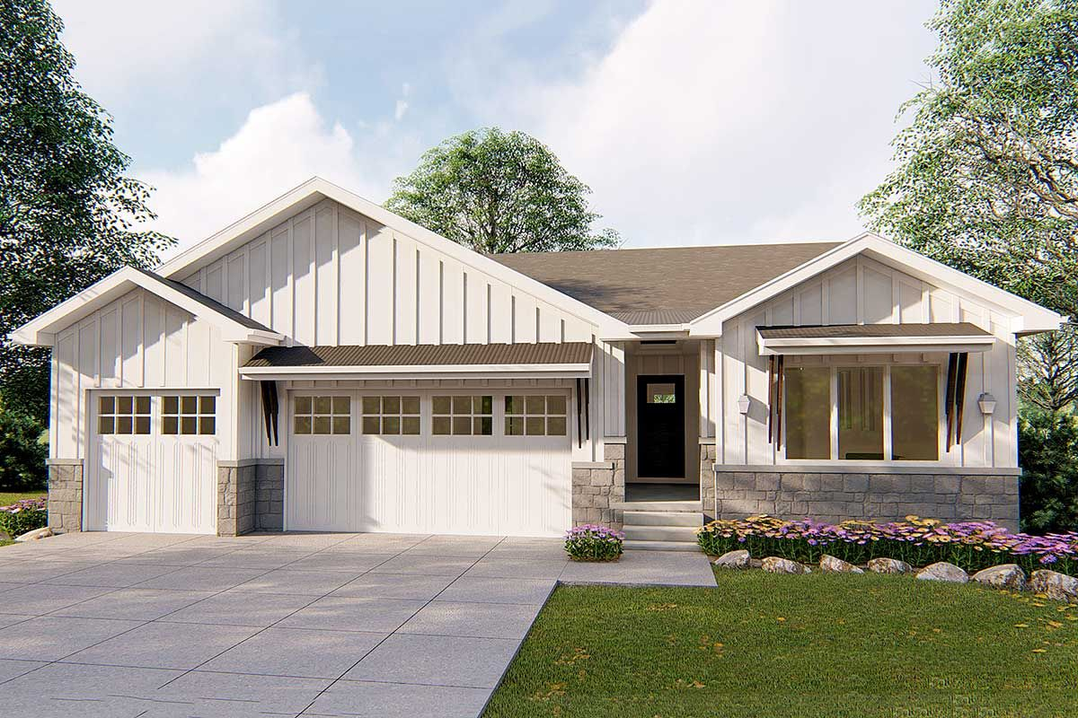 Plan 62740DJ: Affordable 1-Story Modern Prairie Ranch Home ... on front porch custom homes, front porch architectural design, front porch home design, front porch floor,