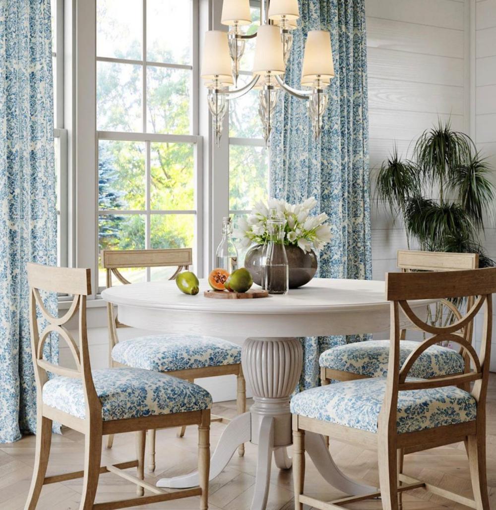 Blue white farmhouse curtains blue linen curtains dining ... on Farmhouse Dining Room Curtain Ideas  id=96276