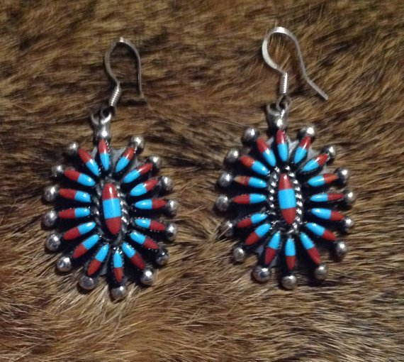 Gemstones Tribal 925 Sterling Silver Zuni Tribe Pendant And Earrings Crystals