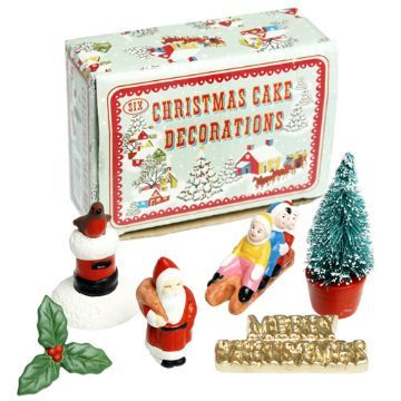 old school christmas cake decorations arriving soon at moss cottage www