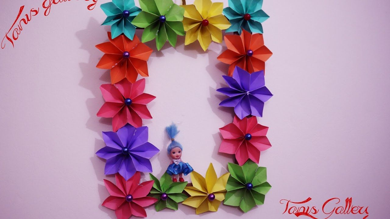 Wall Hanging With Handmade Paper Flower For Kids Room Decoration