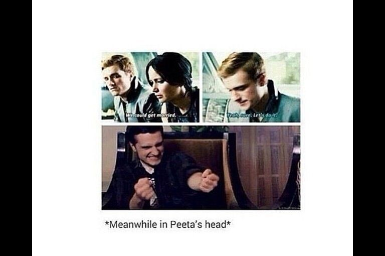 "No, I have a problem with this. In the book when Katniss says that and Peeta storms out, Haymitch then explains to Katniss that Peeta wanted to marriage thing to be real. Yeah sure he was happy in this part, but not as happy as he would've been if the marriage was actually ""real"". There's my problem."