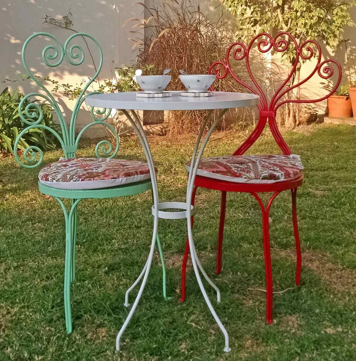 Mesa de hierro forjado 50 cms color apta exterior e for Table jardin beauty