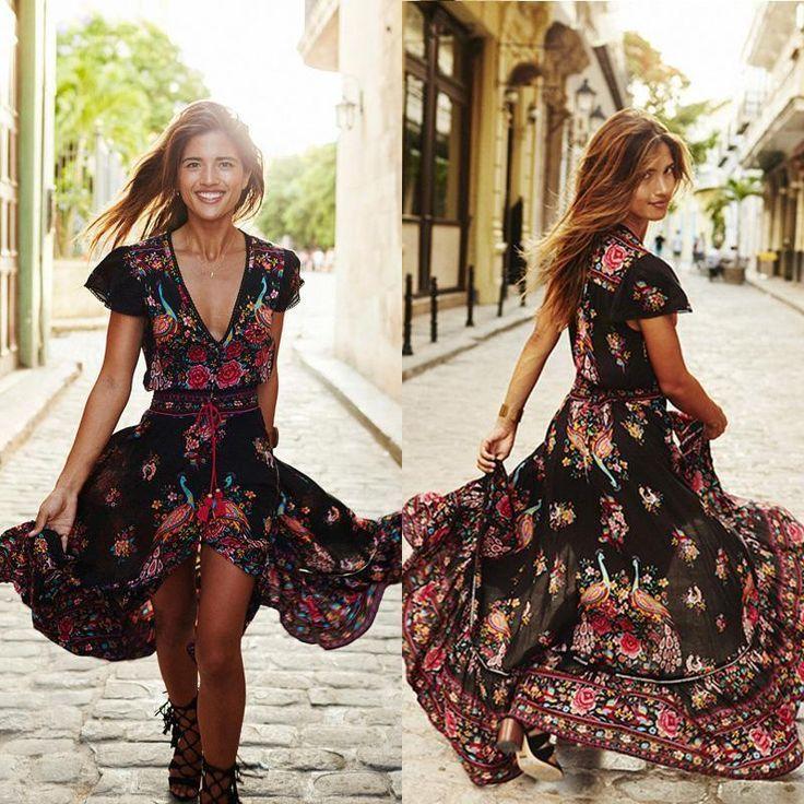 robe longue bohemienne gypsi noire a fleur rouge robe long hippie style et longues. Black Bedroom Furniture Sets. Home Design Ideas