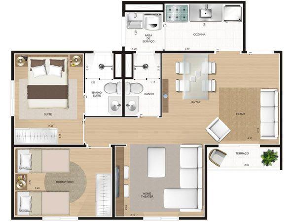 planos de casas pequenas modernas economicas. Black Bedroom Furniture Sets. Home Design Ideas