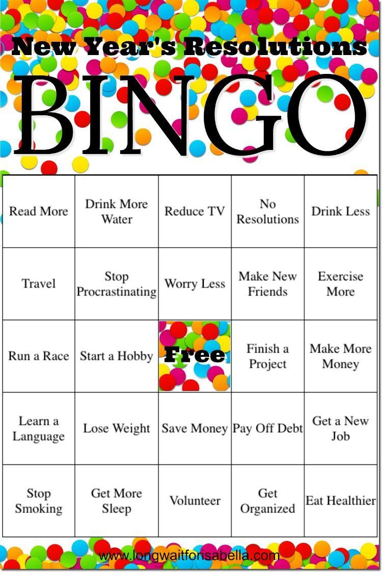 FREE Printable New Year's Resolutions Bingo! Money
