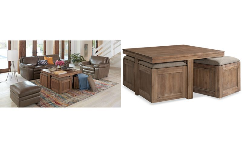 champagne cube coffee table with 4