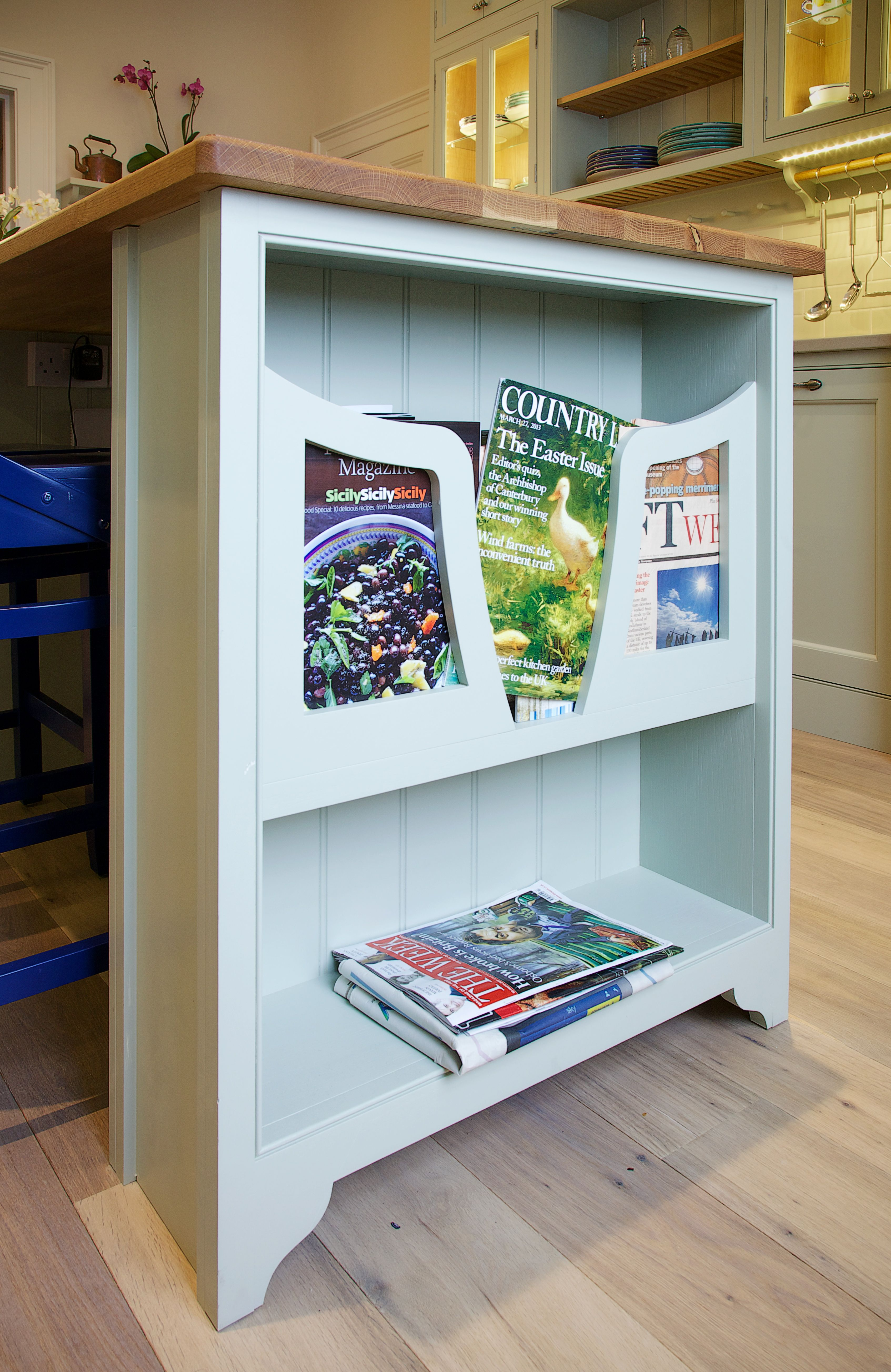 On the end of the island we added a magazine rack that is not only ...