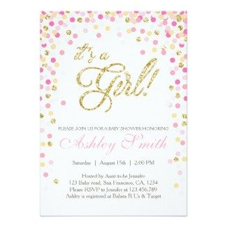 Pink and Gold Sparkle Baby Shower Invite Its a Girl Baby Shower