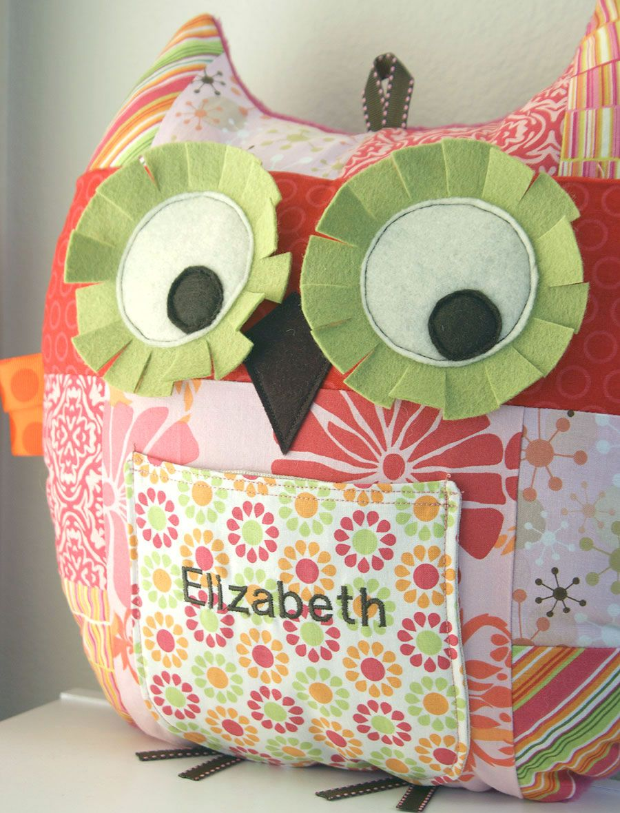 large pretty in pink patchwork owl pillow with front pocket and ...