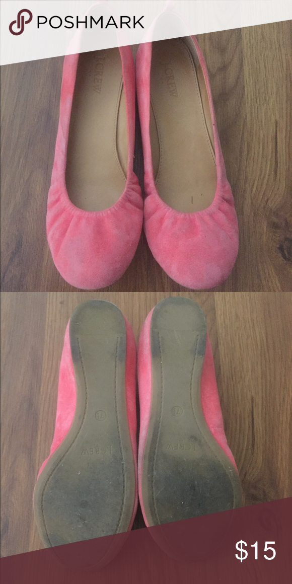 Pink j crew flats Bought on here and wore these once for my wedding. They have some scuffs that should wipe off. Gorgeous flexible flats! J. Crew Shoes Flats & Loafers