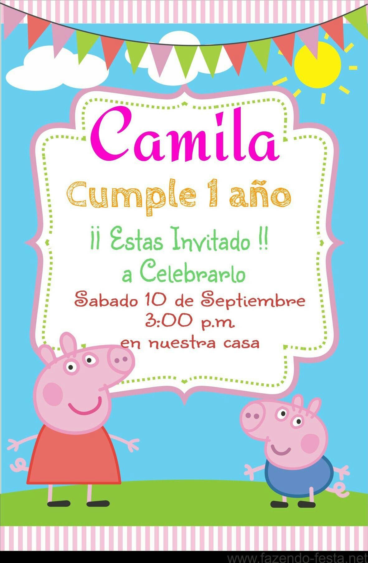 Tarjeta Peppa Pig Invitaciones De Cumpleaños Gratis