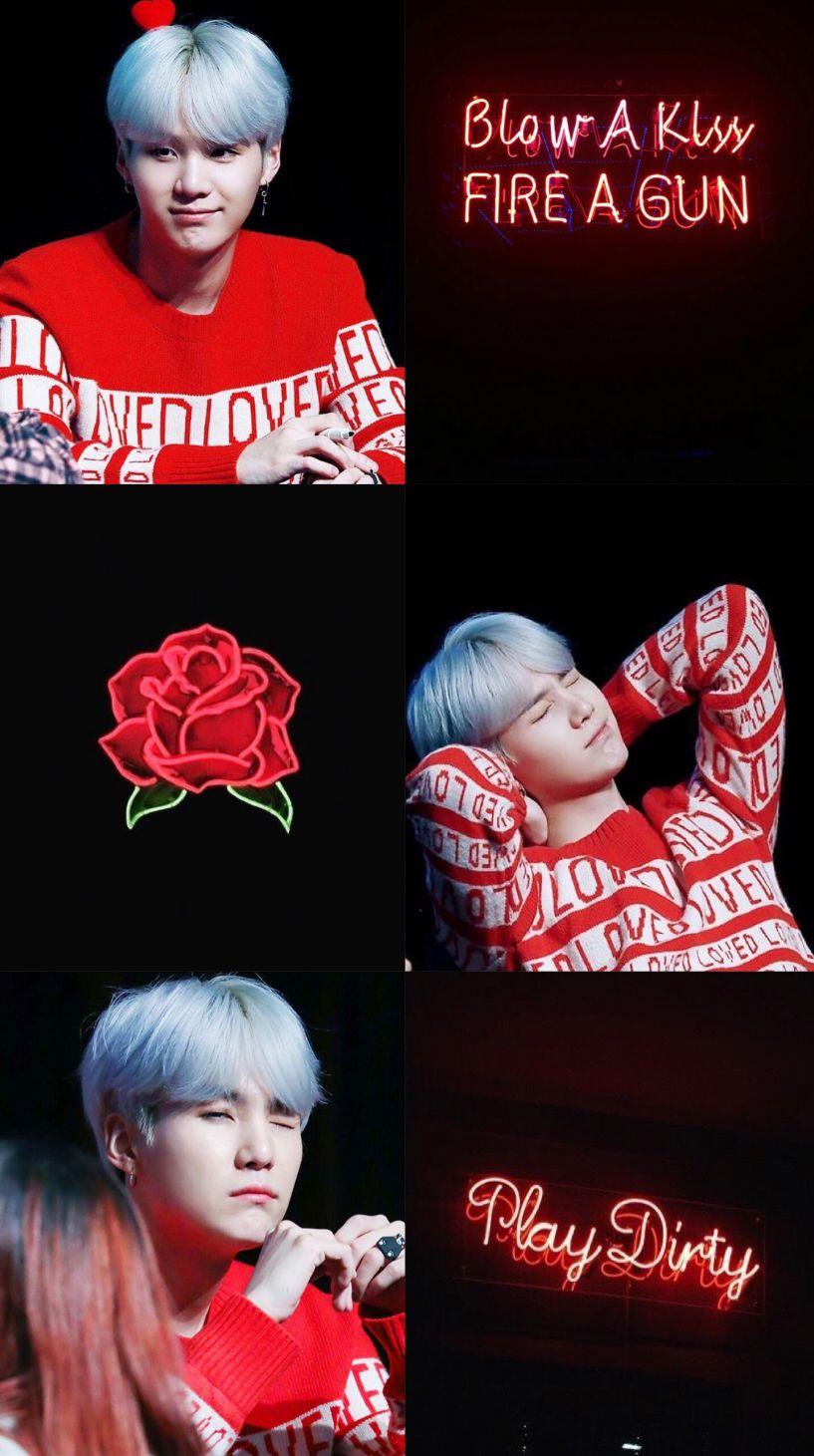 Suga Bts Collage And Aesthetic Suga Bts Aesthetic Collage Red Black Minyoongi Red Aesthetic Black Aesthetic Suga