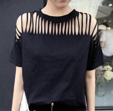 1pc High Quality Fashion Ladies Woman Sexy Ripped,Slashed Black Tight T  Shirt Top Clubwear