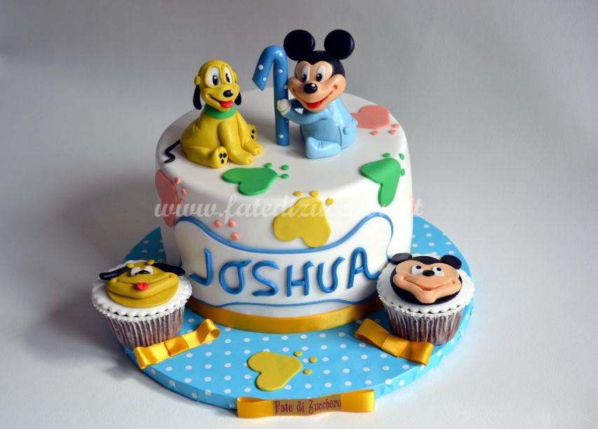 Tavolo Compleanno Topolino : Torta primo compleanno con baby topolino e baby pluto fate di