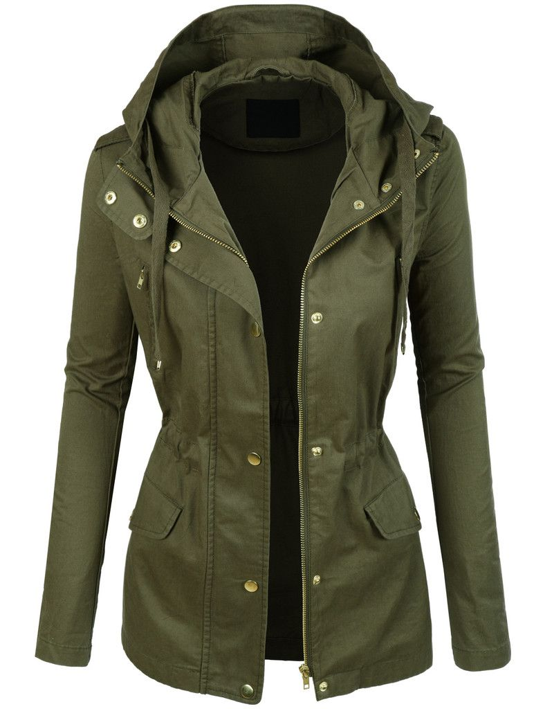 39ecf0ec473c LE3NO Womens Lightweight Cotton Military Anorak Jacket with Hoodie