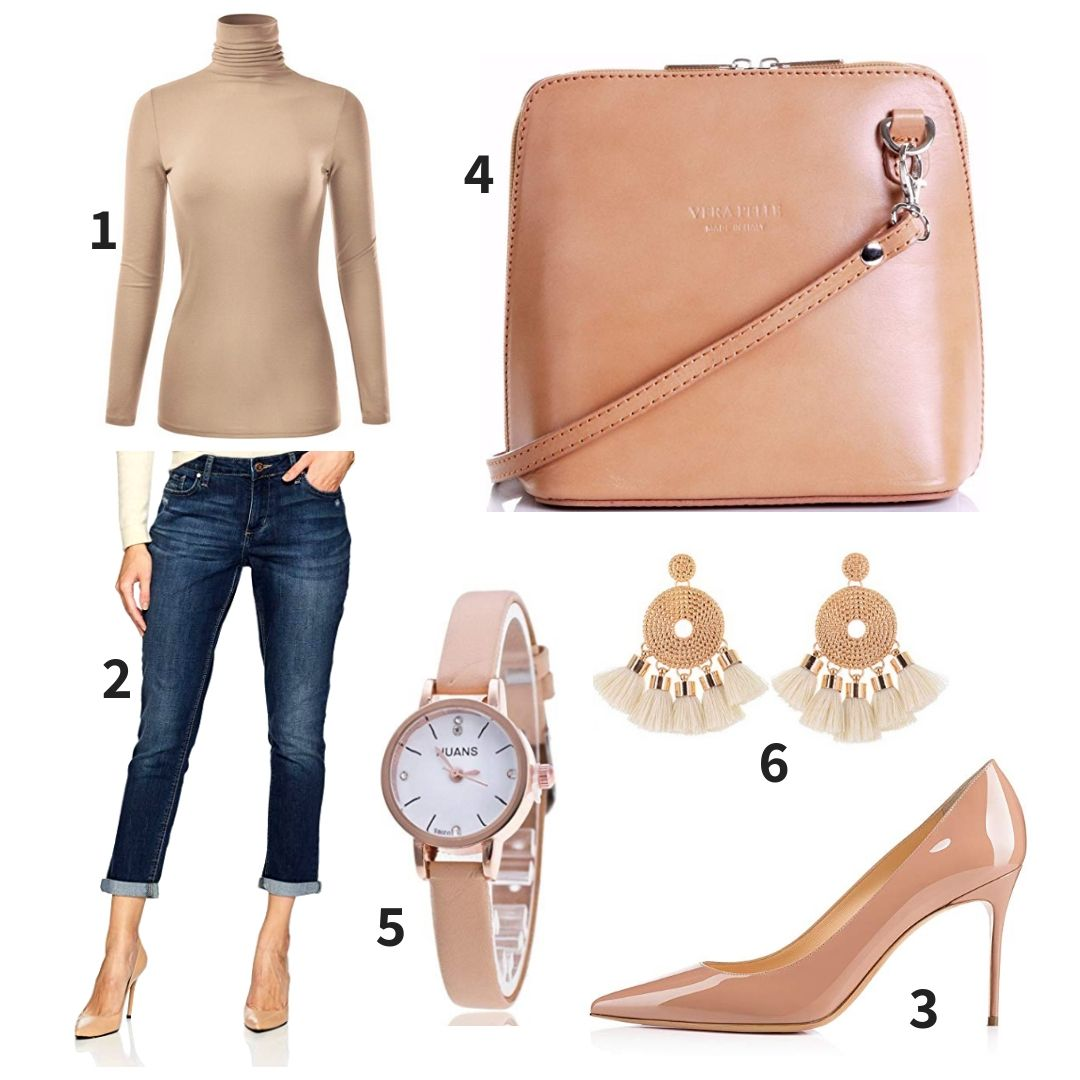 6cd2e075 Beige Turtleneck and Beige Pumps Outfit combining EIMIN Women's Long Sleeve  Turtleneck , Riders by Lee