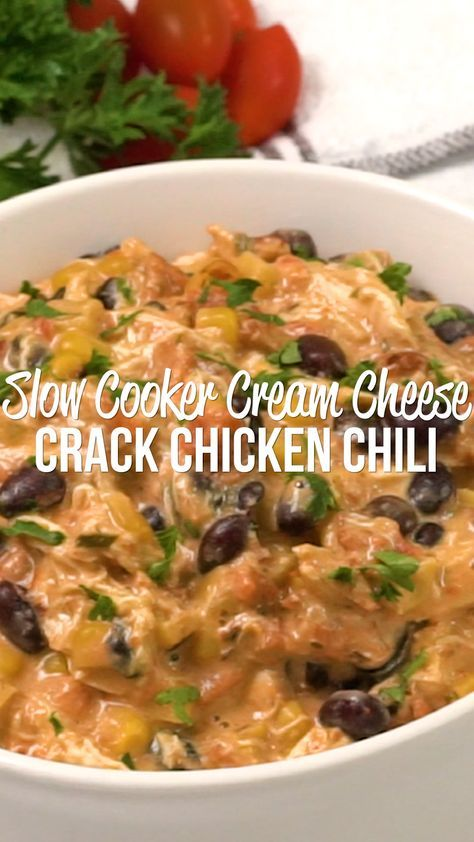 Slow Cooker Cream Cheese Crack Chicken Chili - Pla