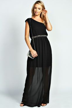 Camilla Embellished One Shoulder Maxi Dress at boohoo.com