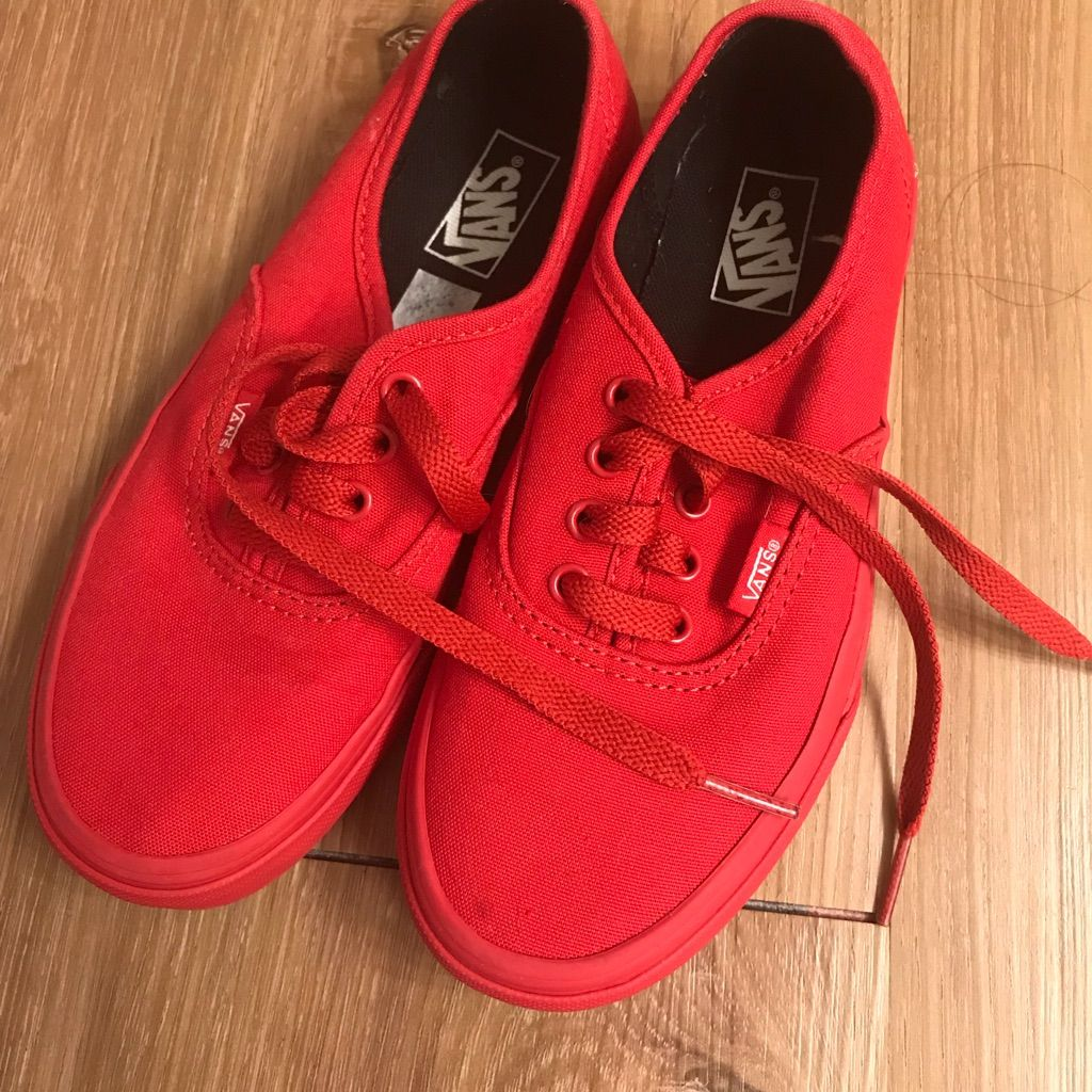 Kids solid red vans shoes in 2020 | Red