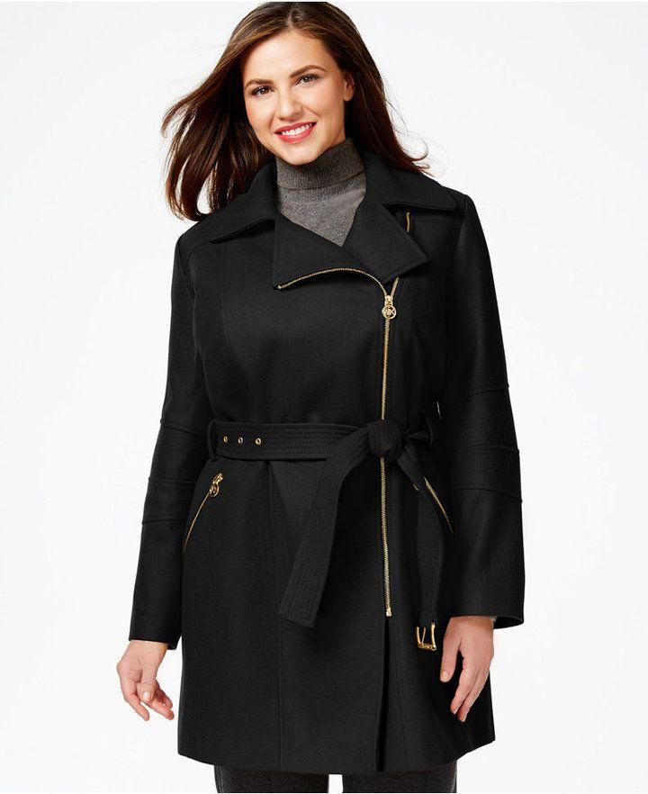 5562fefaf52 MICHAEL Michael Kors Plus Size Asymmetrical-Zip Belted Coat | Curvy ...