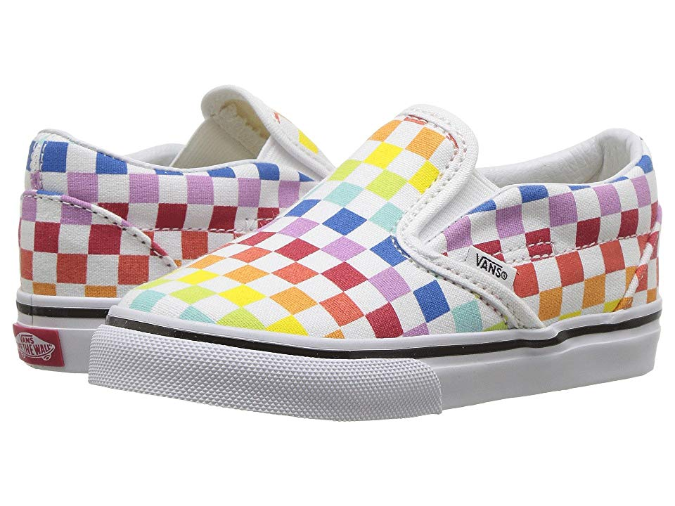 778e5a02a Vans Kids Classic Slip-On (Infant/Toddler) Girls Shoes (Checkerboard)  Rainbow/True White