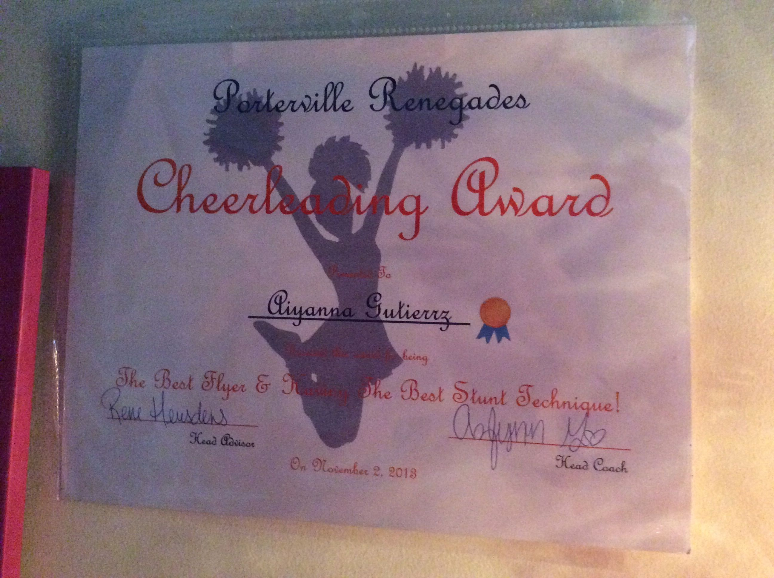 My cheer award for being the best flyer and having best stunt technique.