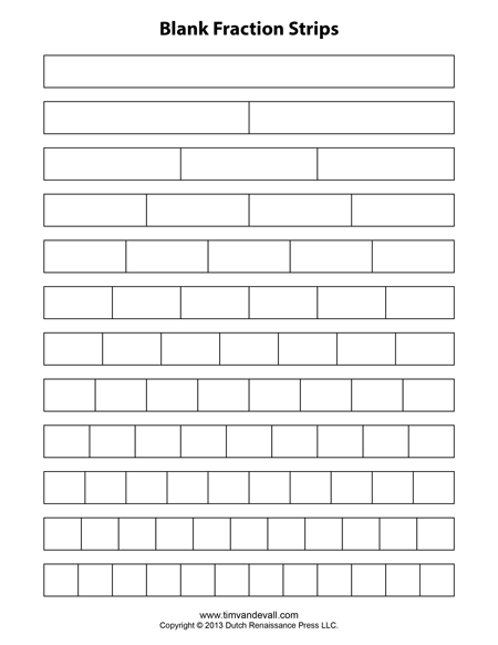 Free Printable Fraction Strips Blank Fraction Bars Math Printables Fractions Math Fractions Fractions Worksheets